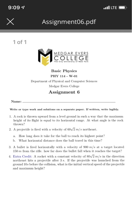 Solved: 9:09 I LTE Assignment06 pdf 1 Of 1 MEDGAR EVERS CO