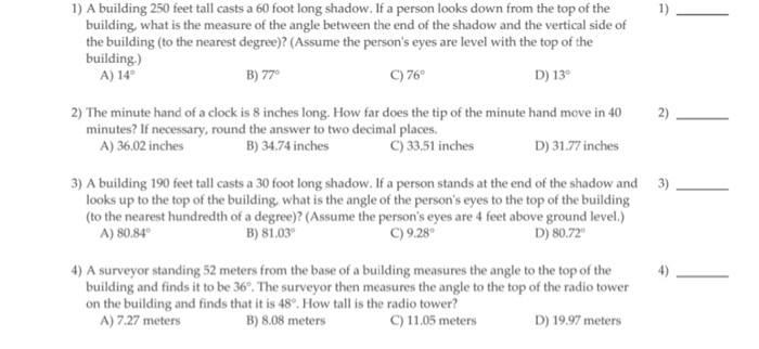 Solved 1 A Building 250 Feet Tall Casts A 60 Foot Long S
