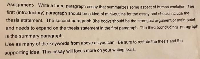 writing a three paragraph essay