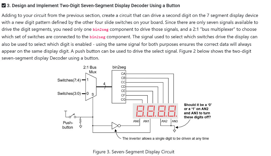 solved 3 design and implement two digit seven segment didesign and implement two digit seven segment display decoder using a button