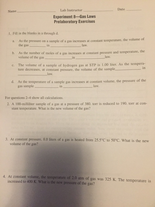 Solved: Lab Instructor Date Name Experiment 8-Gas Laws Pre