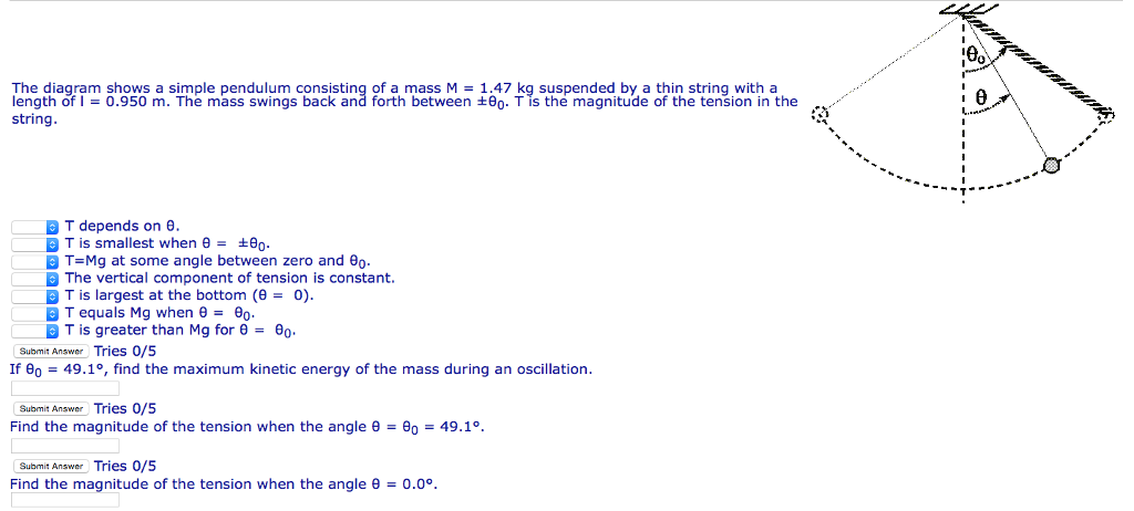Solved The Diagram Shows A Simple Pendulum Consisting Of