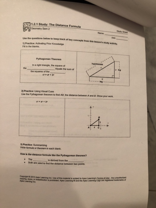 Solved: 1.2.1 Study. The Distance Formula Geometry Sem 2 S ...
