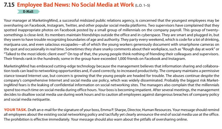 Solved: 7 15 Employee Bad News: No Social Media At Work (L