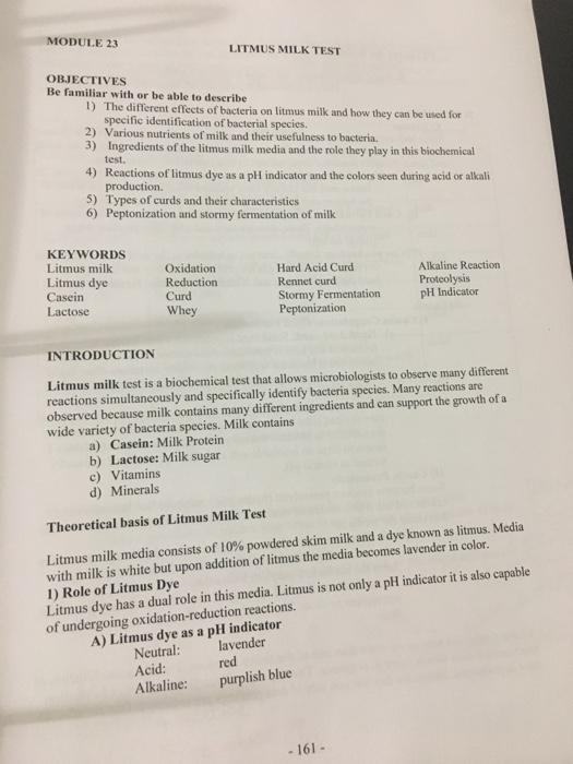 Solved: MODULE 23 LITMUS MILK TEST OBJECTIVES Be Familiar