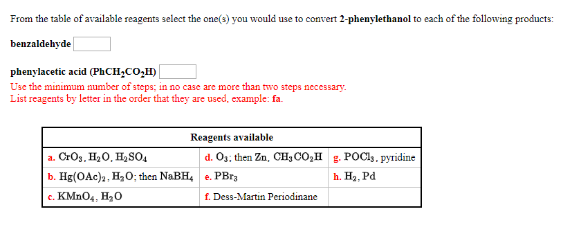 Solved: From The Table Of Available Reagents Select The On