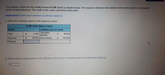 solved the balance sheet for the newly formed acme bank i