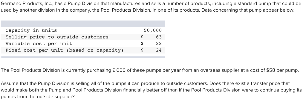 Solved: Germano Products, Inc , Has A Pump Division That M