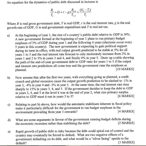 N Equation For The Dynamics Of Public Debt Discuss    | Chegg com
