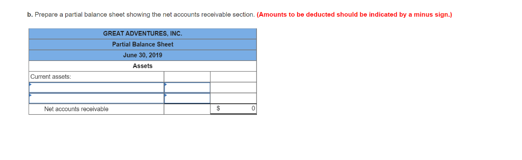 b. Prepare a partial balance sheet showing the net accounts receivable section. (Amounts to be deducted should be indicated b