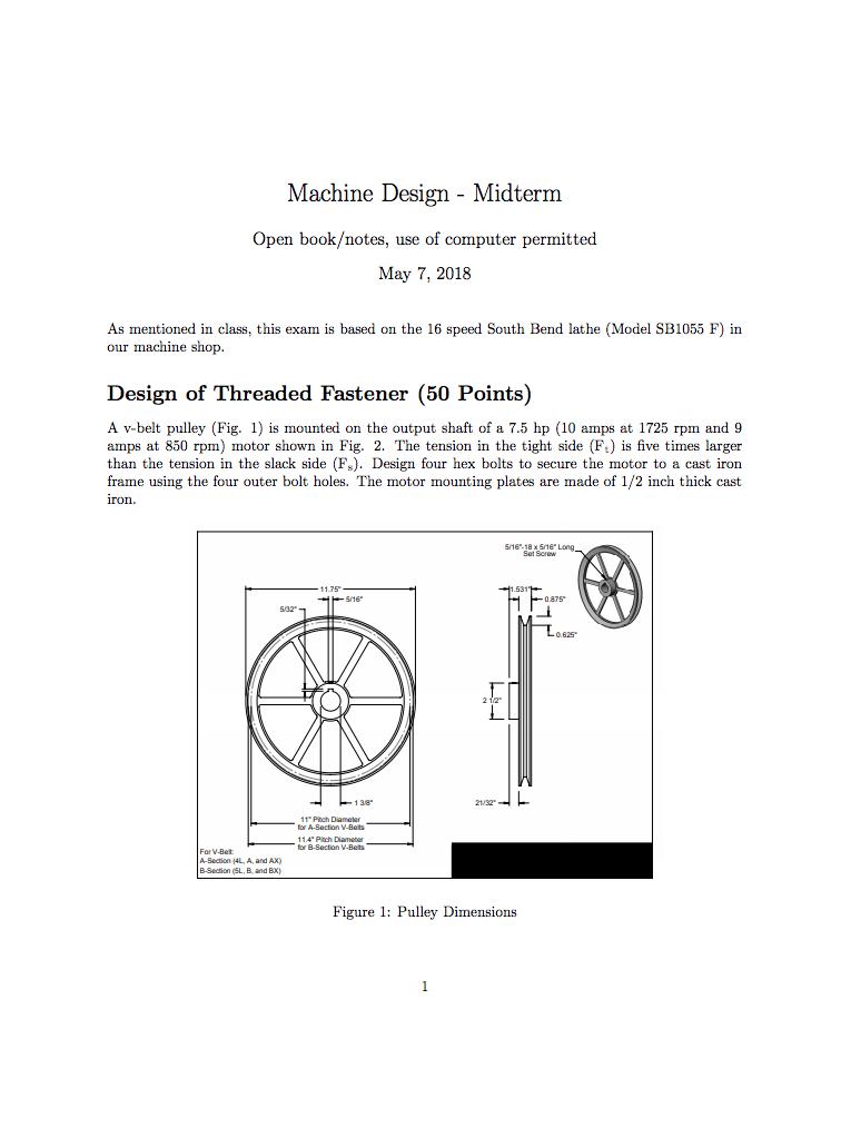 Machine Design - Midterm Open Book/notes, Use Of C