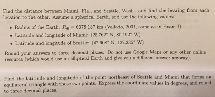 Find The Distance Between Miami, Fla , And Seattle