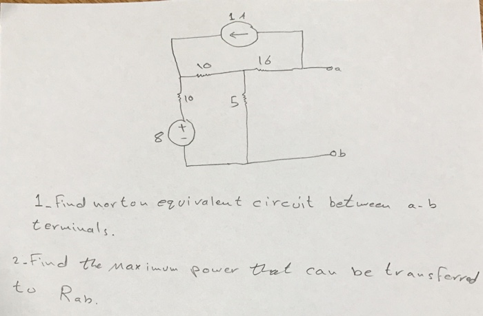 solved  find norton equivalent circuit between a