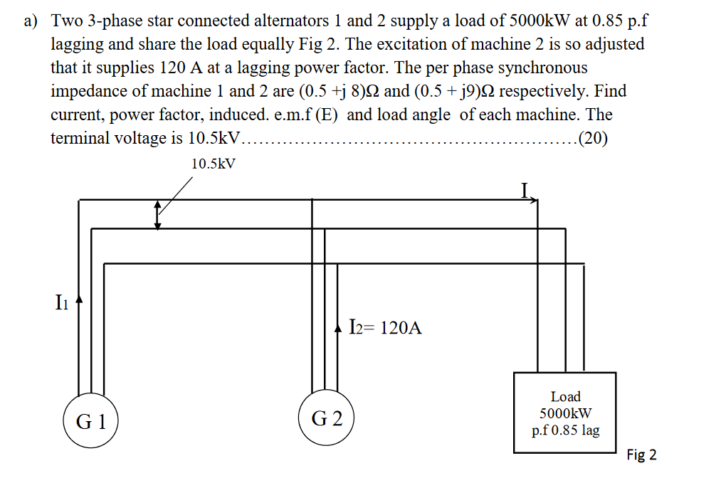 Two 3-phase star connected alternators l and 2 supply a load of 5000kW at 0.85 р.f lagging and share the load equally Fig 2.