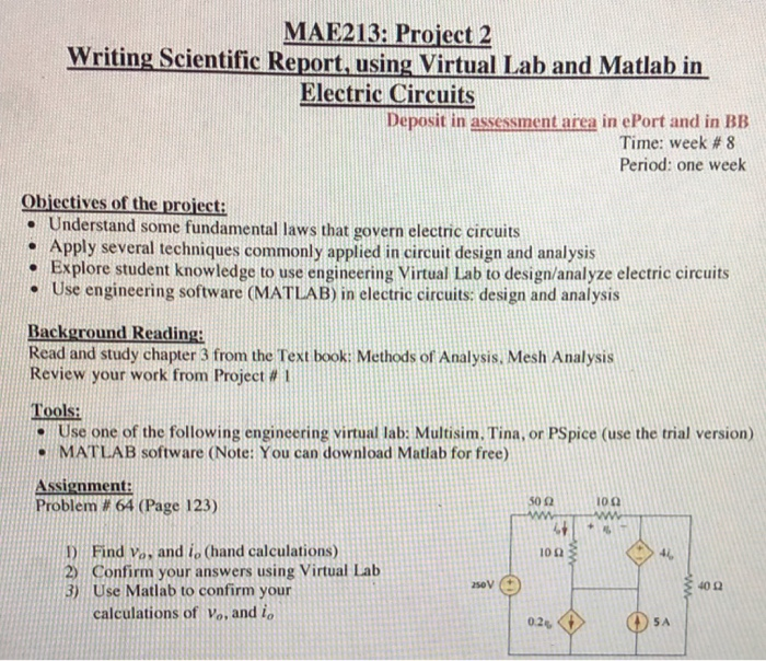 Solved: MAE213: Project 2 Writing Scientific Report, Using