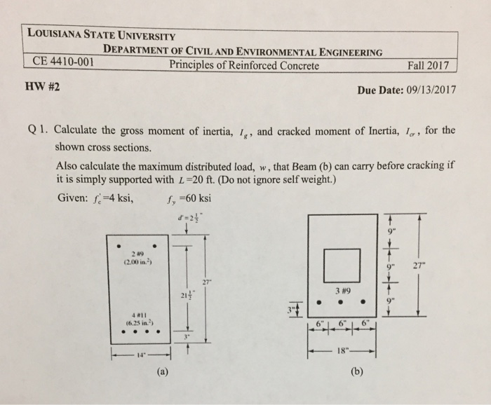 Solved: Calculate The Gross Moment Of Inertia I_g, And Cra