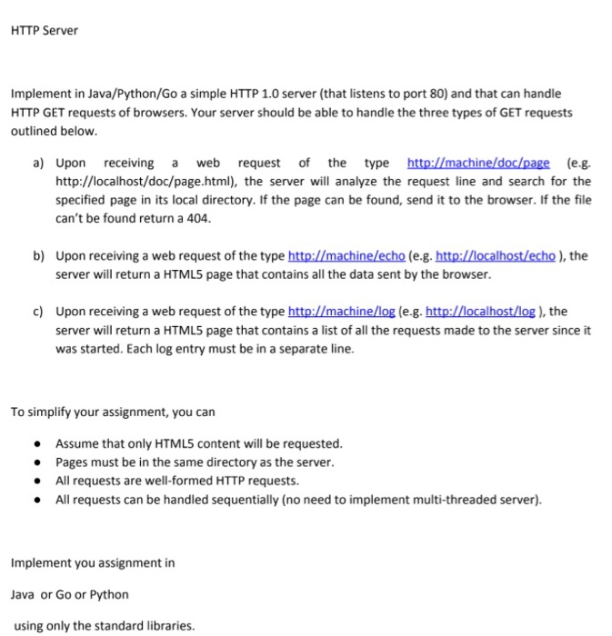 Solved: HTTP Server Implement In Java/Python/Go A Simple H