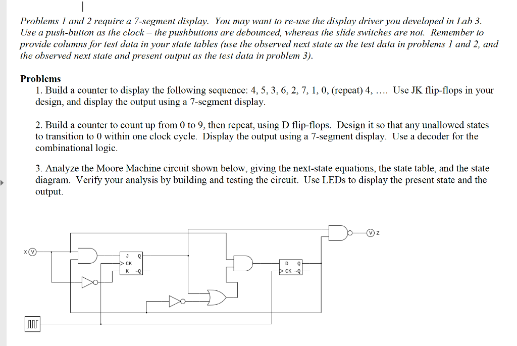 Solved: Problems 1 And 2 Require A 7-segment Display  You