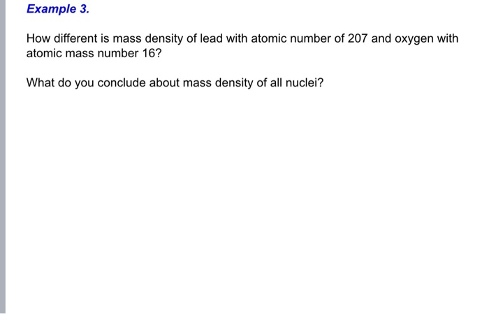 Solved: Example 3  How Different Is Mass Density Of Lead W