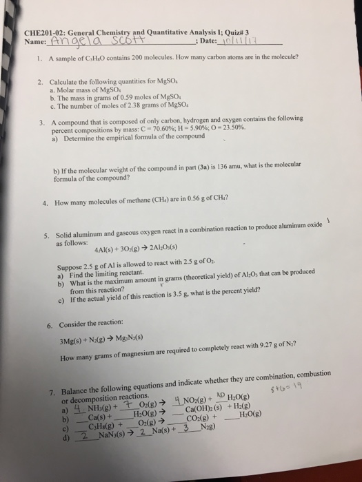 Solved: CHE201-02: General Chemistry And Quantitative Anal