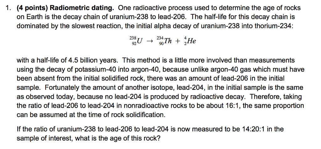 uranium 238 used for dating rocks
