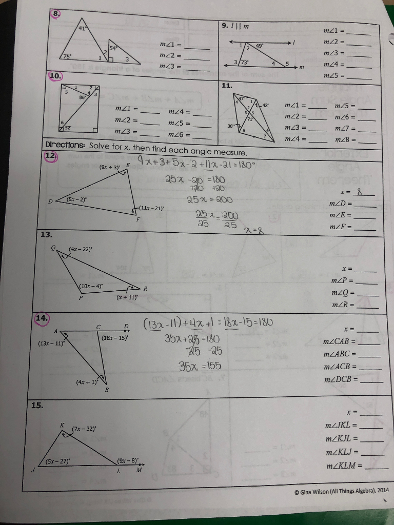 Solved: Exterior Angle Theorem And Triangle Sum Theorem Pl ...