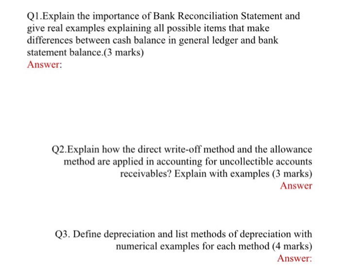 Solved Q1explain The Importance Of Bank Reconciliation S