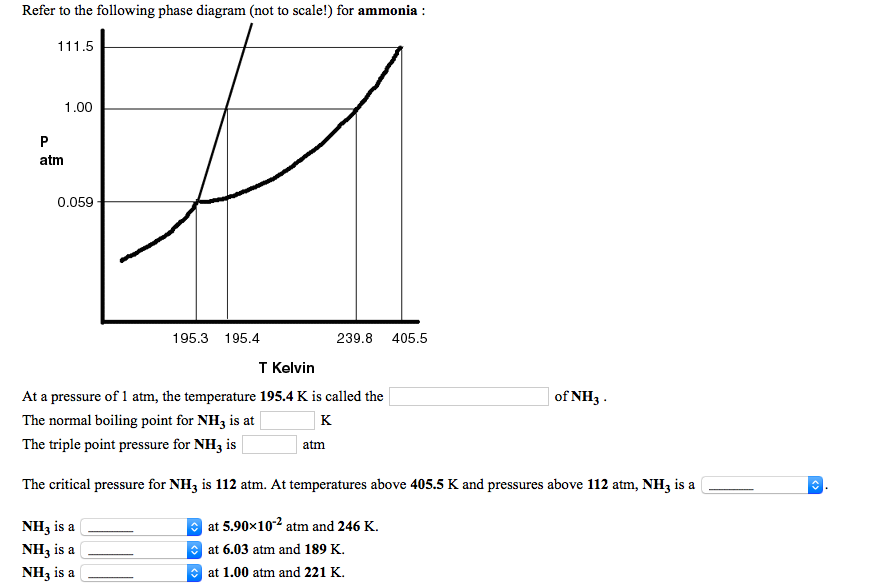 refer to the following phase diagram (not to scale!) for ammonia 1 00 atm