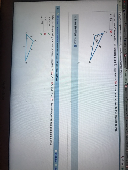 Solved: Use The Law Of Sines To Find The Indicated Side X ...