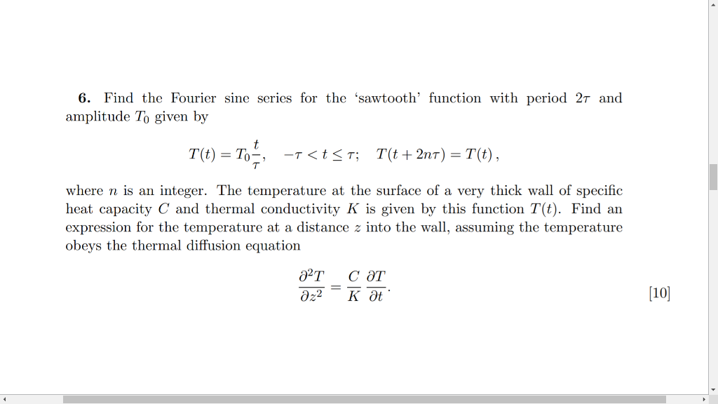 Solved: 6  Find The Fourier Sine Series For The 'sawtooth