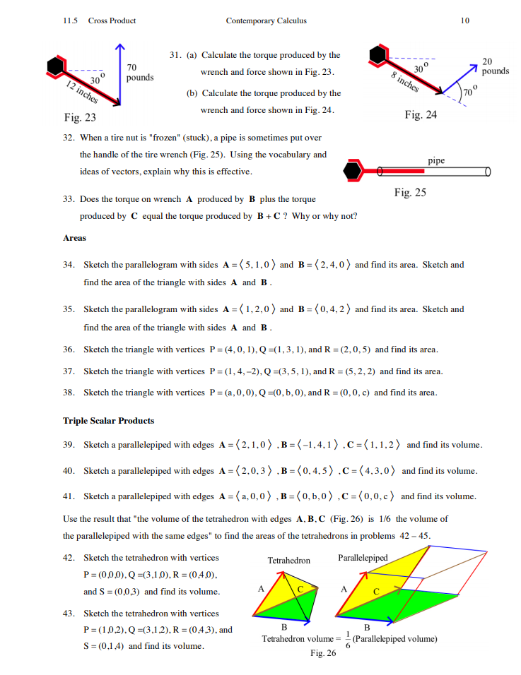 Solved: 115 Cross Product Contemporary Calculus 10 31  (a