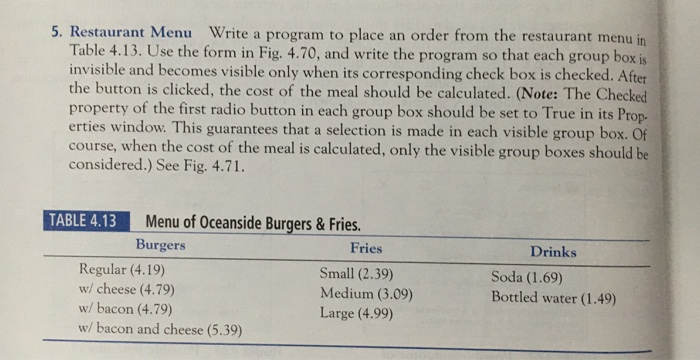 solved 5 restaurant menu write a program to place an ord