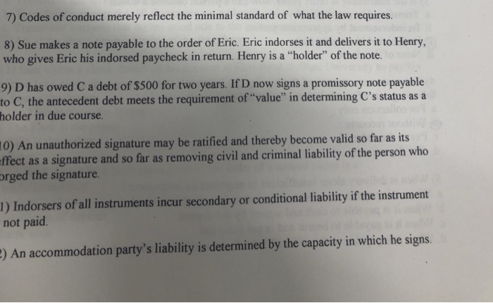 Solved: 7) Codes Of Conduct Merely Reflect The Minimal Sta