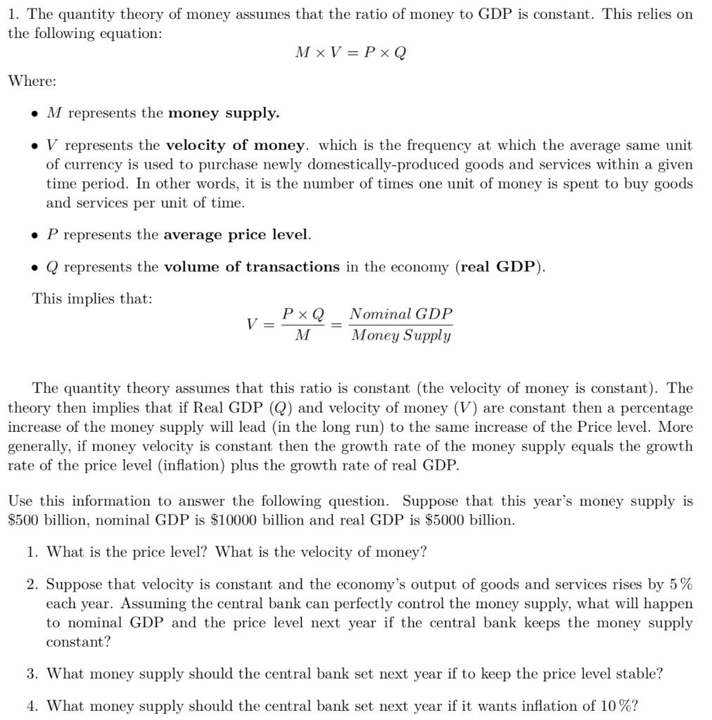 Quantity theory of money pdf