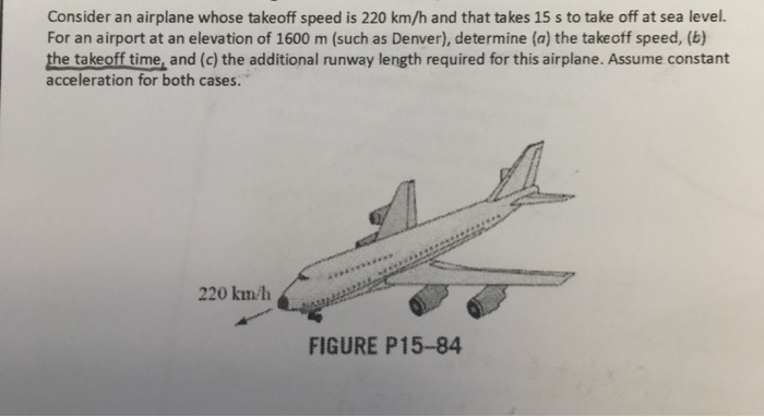 Solved: Consider An Airplane Whose Takeoff Speed Is 220 Km