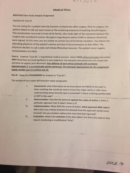 Solved: Medical Ethics BIOETHICS Case Study Analysis Assig