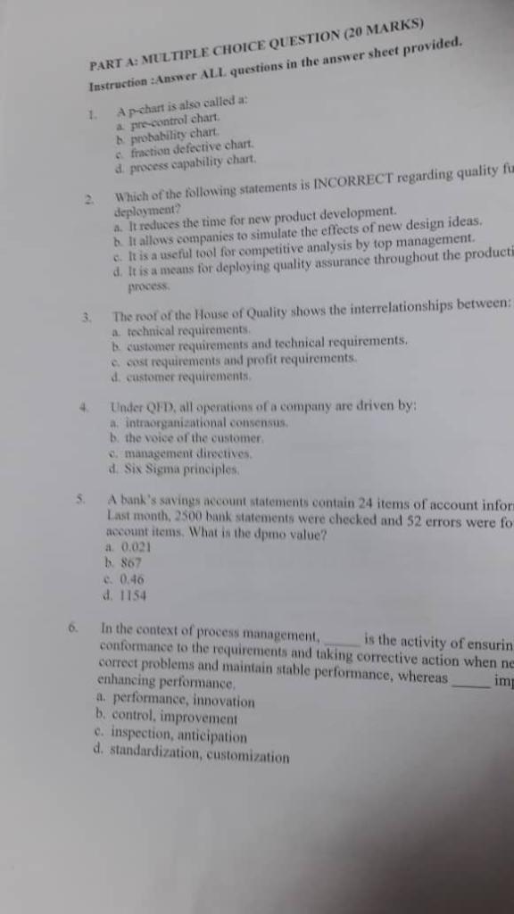 PART A: MULTIPLE CHOICE QUESTION (20 MA Instructio