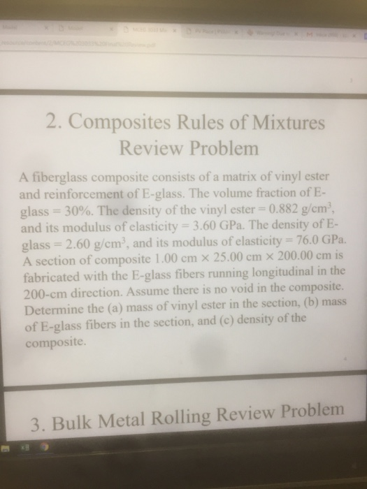 Solved: 2  Composites Rules Of Mixtures Review Problem A F