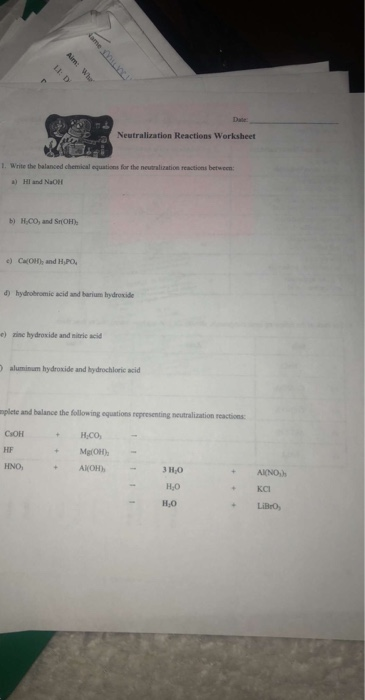 Solved: Date Neutralization Reactions Worksheet Write The ...