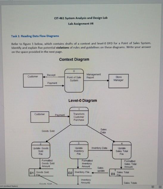 Cit 461 System Analysis And Design Lab Lab Assignm Chegg Com