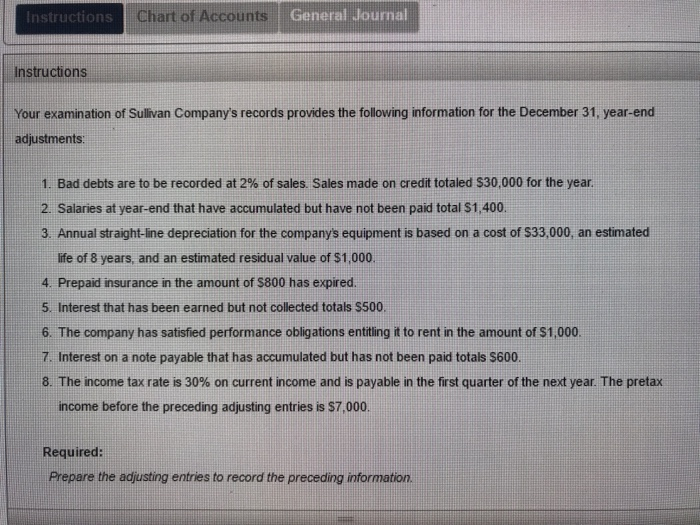 Solved: Instructions Chart Of Accounts General Journal Ins ...