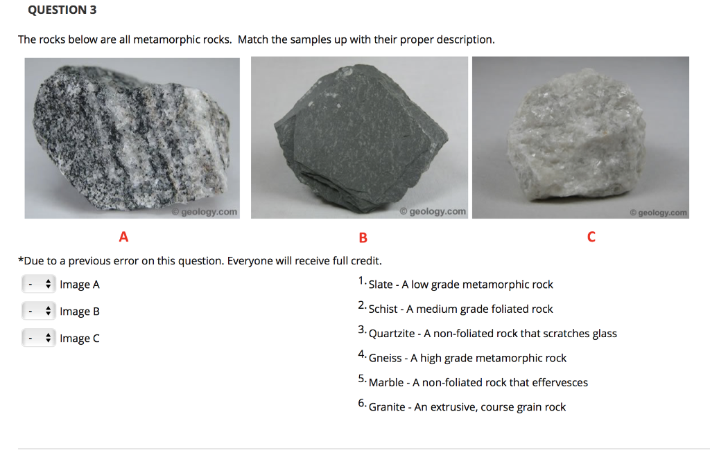 Question 3 The Rocks Below Are All Metamorphic Match Samples Up With Their