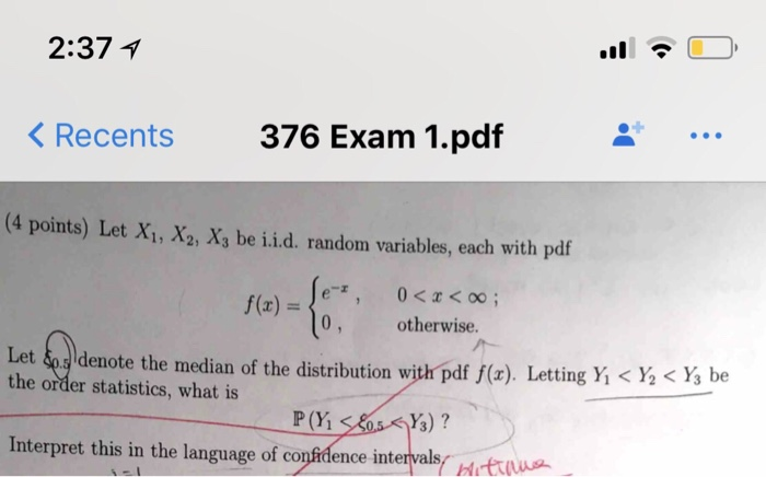 Solved: 2:371 Recents 376 Exam 1 pdf (4 Points) Let X1, X2