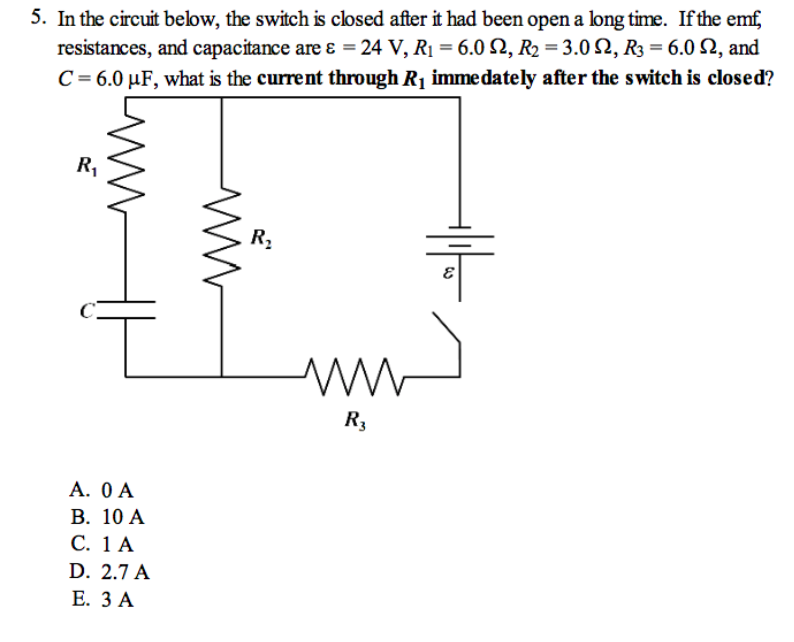 solved 5 in the circuit below the switch is closed afte rh chegg com
