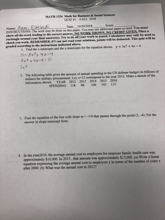 Solved: MATH 1324 Math For Business & Social Sciences QUIZ