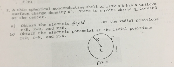 2. A thin spherical nonconducting shell of radius R has a unitorm surface, charge density σ. There is a point charge g° locat