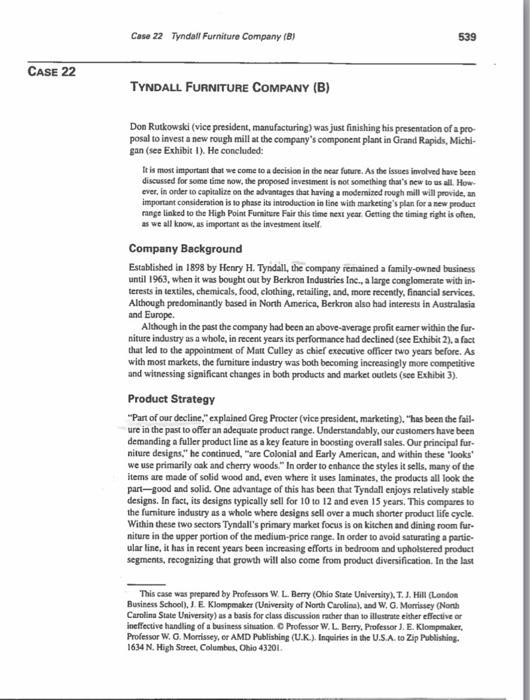 Case 22 Tyndall Furniture Company (B) 539 CASE 22 TYNDALL FURNITURE COMPANY  (B