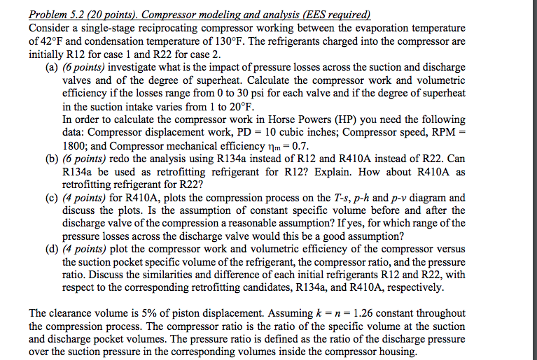 Problem 5 2 (20 Points)  Compressor Modeling And A    | Chegg com