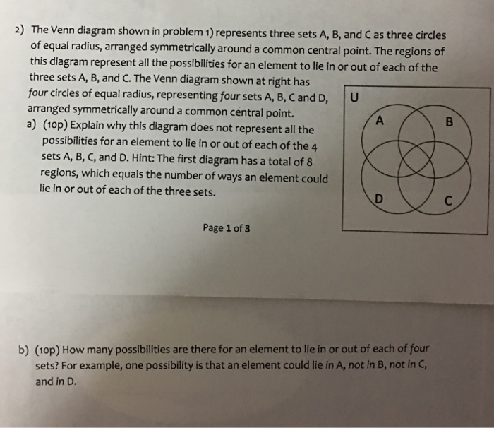 Solved 2 The Venn Diagram Shown In Problem 1 Represents