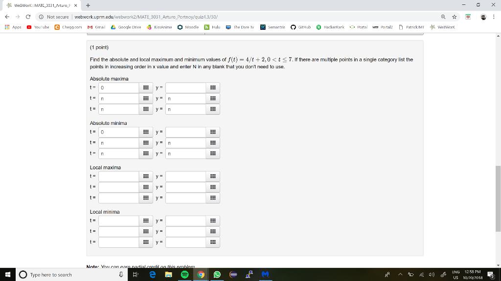 Solved:  > C Not Secure | Webworkuprm edu/webwork2/MATE303